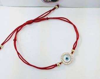 Red string evil eye bracelet,  Protection bracelet, dainty evil eye bracelet, CZ silver evil eye Red String, blue evil eye, Red String.