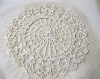 Sparkly Doily, Sparkly Doilie, Crochet Doily, Centerpiece, Lace, Cream, Off White, Home Decor, Accent, Ready to ship