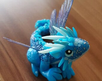 Blue Dragon, Polymer clay Dragon, Little hatchling, magic figure, fantasy sculptures