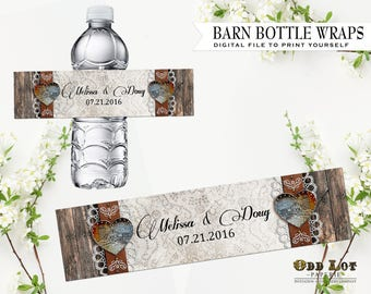 Rustic Vintage Barn and Heart Water Bottle Wrap Country Rustic Printable Bottle Wrap party favor Barn Wedding Customized Party Printable