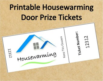 Instant Download Housewarming Door Prize Tickets~Up to 40 Tickets!~Printable Housewarming Party Raffle Tickets~Instant Housewarming Tickets