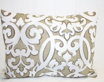 Waverly Tan and White Scroll Print Pillow Cover 12x16, 16x16