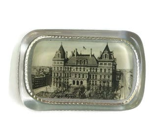 Vintage Glass Paperweight, Vintage Photo Paperweight, State Capital Albany NY Paperweight, New York Government Paperweight, NY Souvenir