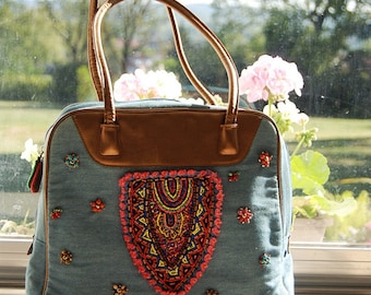 Bead embroidered denim shoulder bag