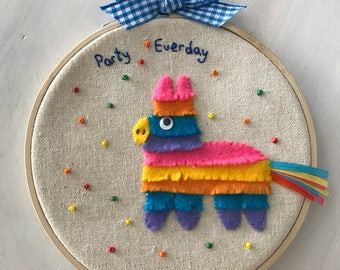 Party Pinata Donkey  Embroidery Hoop Wall Art, 3D Wall Art, Nursery Decor, Home, Birthday Gift