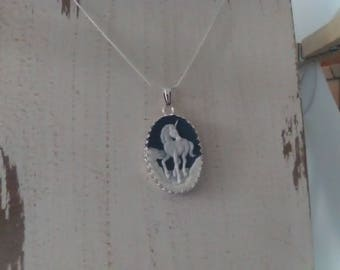 Unicorn Cameo Necklace in 925 Sterling Silver
