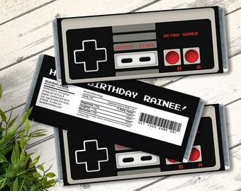 NES Candy Bar Label/Wrapper - Video Game Party Favor, Nintendo, Retro Gamer | D.I.Y. Editable Text INSTANT DOWNLOAD Printable
