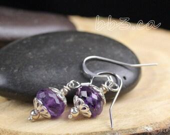 Amethyst Gemstone Faceted Rondelle Earrings