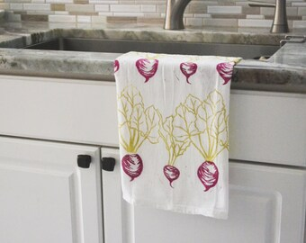 Tea towel, Beet dish towel, Hand printed dish towel, flour sack towel, block print towel, hostess gift, gift for her, gift for mom