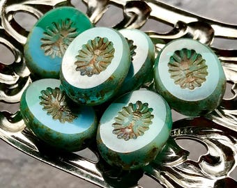 STARBURST - Turquoise and Emerald Green with a Picasso Finish - Premium Oval Czech Glass Beads - 6 Beads