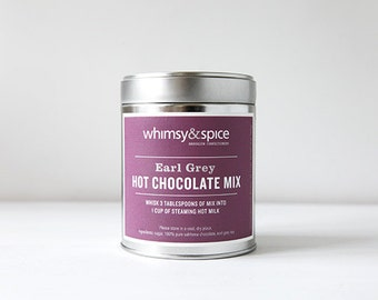 Hot Chocolate Mix infused with Earl Grey Tea, Gourmet Drinking Chocolate
