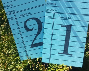 Blue Library cards Wedding Table Number Cards Blue Library Cards wedding library card blue table numbers card library library cards