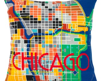 Chicago City Map Tapestry / Needlepoint Kit in half stitch. 41 x 41cm