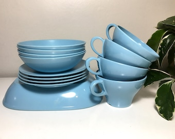 Blue Melmamine Set for Four (13 Pieces Total)