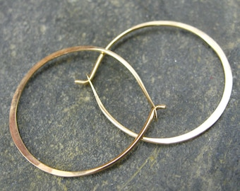 Gold Hoop Earrings. Small Gold Hoops. Hammered Hoop Earring. Simple Gold Jewelry. Boho Hoop Earring.