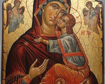 Theotokos Virgin Mary Panumnitos Hand-Painted (Written) Orthodox Byzantine Icon on Wood (Premium Quality)