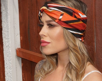 Festival Boho Multi Stripe Stretch Turban Headband, festival headband, twist headband, stripe boho turban, Stretch headband,