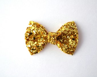 Gold Sparkly Glitter TINY Alligator Clip Little Bow for Newborn Baby Child Little Girl Adult Photo Prop Adorable Photo  Summer Clip