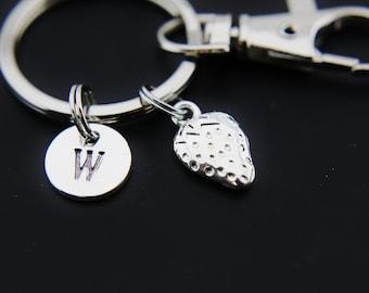 Foodie Gift Silver Strawberry Charm Keychain Strawberry Charm Gardening Gift Personalized Keychain