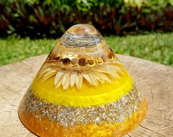 Solar Plexus Chakra Orgone Cone - Tigers Eye, Rutilated Quartz - EMF Protection - Yoga, Spa or Spiritual Home Decor - Spiritual Gift
