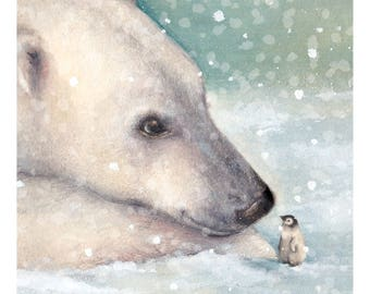 Watercolour Polar Bear and Penguin Art Print - Wall Art- Animal Print - Illustration
