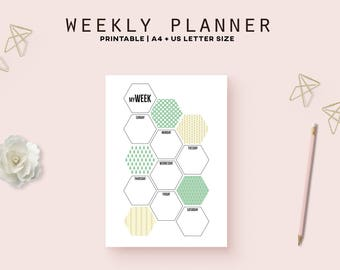 Printable weekly planner pages, hexagon planner inserts, geometric print, weekly schedule, productivity planner, A5 inserts instant download