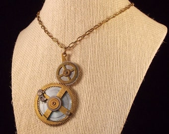 "Steampunk Pocket Watch Necklace 24"" Chain"