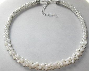White Wedding Kumihimo Necklace