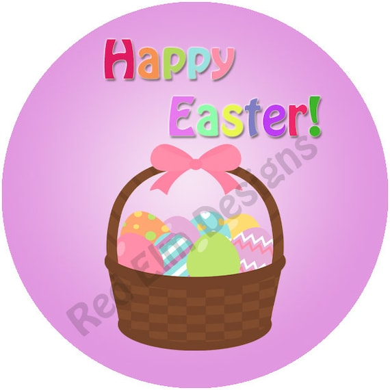 Happy easter stickers sheet of 20 2 round easter basket party stickers 2 inch round easter stickers easter favors