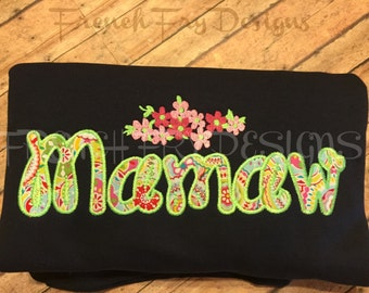 MAMAW applique Short-Sleeve T-Shirt for Grandmother Customized and Personalized
