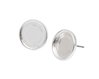 Earrings for Cabochons 12 mm-Silver pair