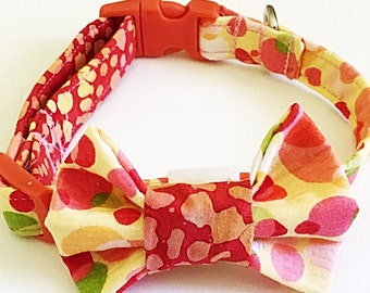 Red & Yellow Summer Time Bow Tie Collar for Male Dogs and Cats