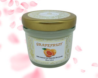 Scented Natural Soy Candle Grapefruit Small Jar 80 g (2.8 oz) - 24 Hour Burn Time