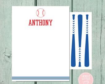 Baseball Stationery, Kids Stationery, Baseball Personalized Notecards, Kids notecards, Boy Birthday Gift, Boys Gift - Lovely Little Party