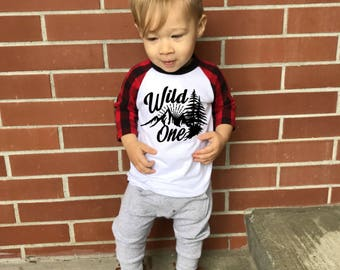 Wild One Birthday Shirt, RAGLAN, Wild One Birthday Outfit, Lumberjack Shirt, Lumberjack First Birthday Outfit, Lumberjack Birthday, Wild One