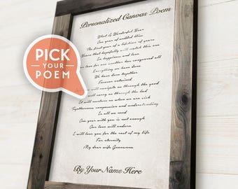Framed Personalized Canvas Poem, Custom Poem Print, Custom Poem on Canvas, Hand-made Frame
