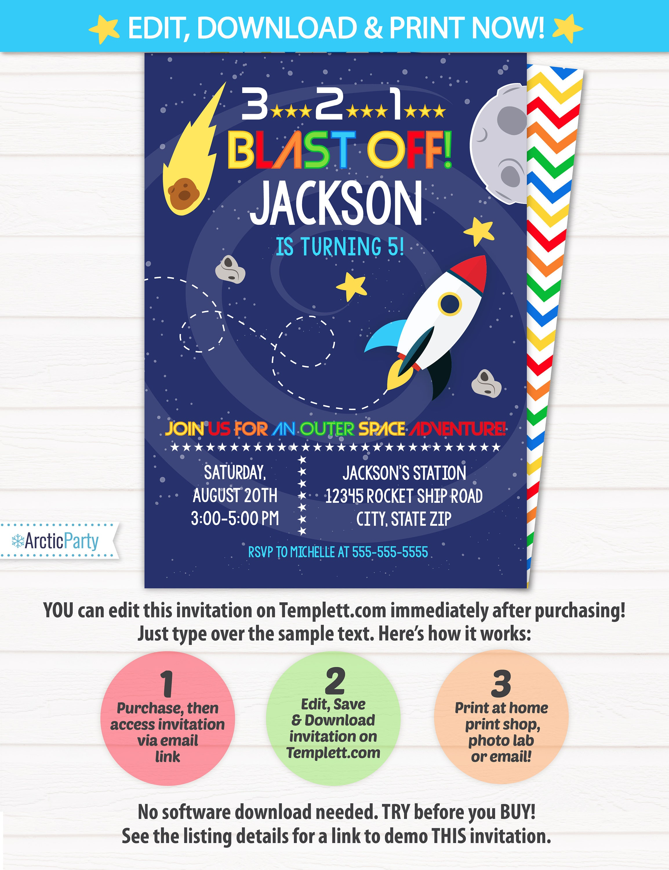 Space Party Invitations Space Themed Party Outer Space
