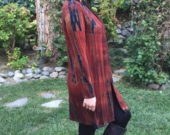 Plus Size Long Cardigan, Plus Size, Cardigan, Long Sweater, long Jacket, Hippie, Boho, Tie Dye, Rich Rust with Black, S/ M  L/XL  Plus