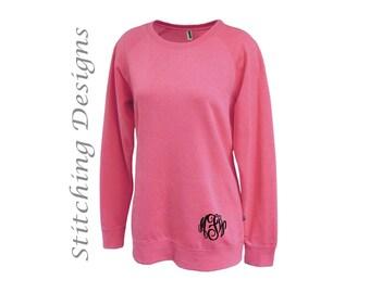 Monogram Tunic sweatshirt, Monogrammed sweatshirt, Long sweatshirt, Crewneck sweatshirt, Women's sweatshirt - 6 colors aailable
