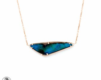 Rose Gold Boulder Opal Necklace, Odd Shaped Opal Statement necklace, Australian Boulder Opal Necklace, Opalescence Collection  | NEC02025
