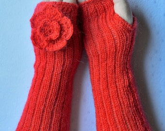 Hand knitted women's arm warmers
