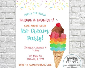 Printable Ice cream party invitation, ice cream birthday invitation, ice cream social invitation, ice cream shoppe invitation, kids birthday