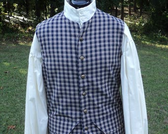 "Men's Sz Xs/S( 34"" chest)colonial/18th century Traditional Homespun Plaid hip length vest w/ ""brass"" buttons & side flanges-READY-TO-SHIP"