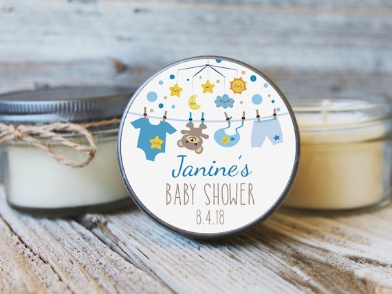 4 oz Baby Shower Candle Favor Baby Mobile Baby Bear Clothesline Stars and Moon Twinkle Little Star Baby Shower Favors Smiling Star