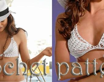 Woman Festival Crochet Bikini top Pattern in PDF file.