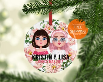 Best friend ornament, personalized gift for friend, Christmas decor
