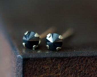 Black Diamond Spike Stud Earrings