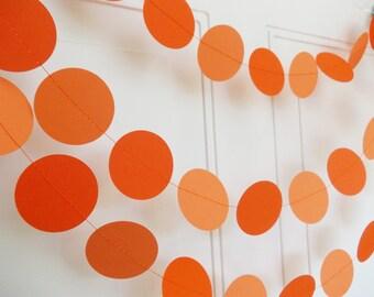 Paper Garland, Orange Circle Garland, Party Decoration, Birthday Decoration, Baby Shower, 12'