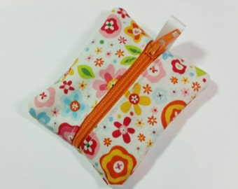 Tiny zipper pouch / earbud case / ear bud pouch / coin pouch / jump stick case / mini zipper pouch | Flowers