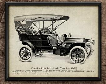 Franklin Car · 1900s · Vintage · Printable · Transport · Instant Download #182